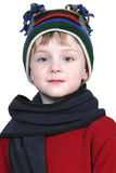 Adorable Boy in Winter Hat and Red Sweater Stock Images