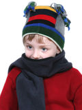 Adorable Boy in Winter Hat and Red Sweater Stock Photos