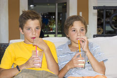 Adorable boys with glasses of milkshake Royalty Free Stock Photo
