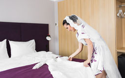 Adorable bride is getting ready in the wedding day Stock Photography