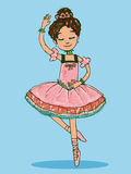 Adorable brunette ballerina girl dancing in shiny pink dress. Isolated illustration with chalk brush touches on light-blue background Stock Photography