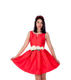 Adorable brunette girl with a elegant red cocktail dress Stock Photos
