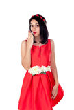 Adorable brunette girl with a elegant red cocktail dress Stock Image