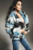 Adorable brunette girl wearing fur coat Royalty Free Stock Photography