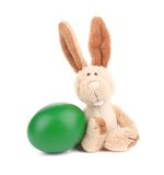 Adorable bunny and easter egg. Isolated on a white background Stock Image