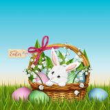 Adorable bunny in wicker basket. Easter spring background. Adorable bunny in wicker basket with flowers and colorful eggs. Easter spring background. Vector stock illustration