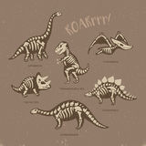 Adorable card with funny dinosaur skeletons in cartoon style. Funny sketchy fossil dinosaurs print with text Roar. Cartoon fossil dinosaurs card. Vector Royalty Free Stock Photography