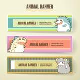 Adorable cartoon animal banner collection set Royalty Free Stock Image