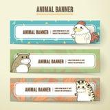 Adorable cartoon animal banner collection set Royalty Free Stock Photos