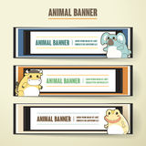 Adorable cartoon animal banner collection set Royalty Free Stock Images