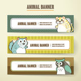 Adorable cartoon animal banner collection set Royalty Free Stock Photography