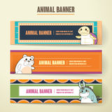 Adorable cartoon animal banner collection set Stock Photo