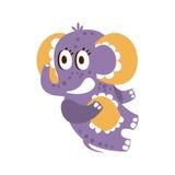 Adorable cartoon baby elephant character lying on his back vector Illustration Stock Photo