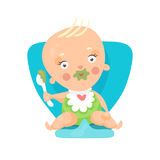 Adorable cartoon baby sitting on blue chair and eating, colorful character vector Illustration Stock Photos