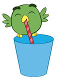 Adorable cartoon bird drinking through a straw Stock Photos