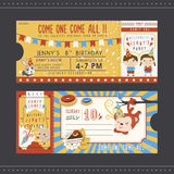 Adorable cartoon birthday party invitation template Stock Images
