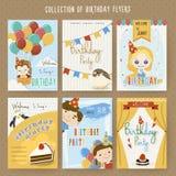 Adorable cartoon birthday party invitation template Royalty Free Stock Photography