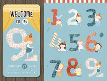 Adorable cartoon birthday party invitation template Royalty Free Stock Photos
