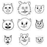 Adorable Cartoon Cats Faces Stock Images