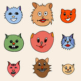 Adorable Cartoon Cats Faces Royalty Free Stock Photography