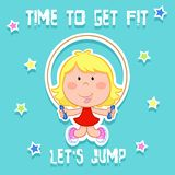 Time to get fit - cute little girl and sports - rope jumping vector illustration