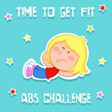 Time to get fit - adorable little girl and sports -  abs exercise. Adorable cartoon illustration of a little girl - sports -  abs exercise - isolated - jpg file Stock Photos