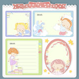 Adorable cartoon style memo pad template Royalty Free Stock Image