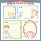 Adorable cartoon style memo pad template. Design set Royalty Free Stock Image