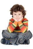 Adorable casual boy in the ground Stock Photo