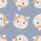 Adorable cat seamless pattern, kitten character. Kawaii animals illustration royalty free illustration