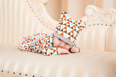 Adorable Caucasian baby. Portrait of a three months old baby boy Stock Images
