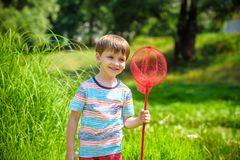Adorable Caucasian kid playing with scoop-net on the meadow on warm and sunny summer or spring day. Royalty Free Stock Photo