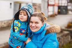 Adorable caucasian little boy and mother, outdoors Stock Photography