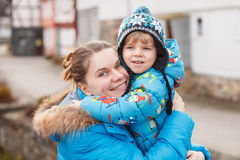 Adorable caucasian little boy and mother, outdoors Royalty Free Stock Photo