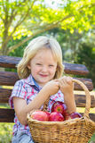 Adorable child with basket of apples in park. Adorable child sitting on bench in a park with basket of red apples for a healthy snack Stock Image