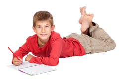 Adorable child with blond hair lying Stock Photo