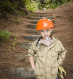 Adorable Child Boy with Big Gloves Playing Handyman Outside Stock Photography