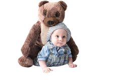 Adorable child boy with rplush toy teddy bea isolated Royalty Free Stock Photos