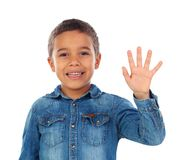 Adorable child counting with his fingers Stock Photo