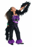 Adorable Child Dance Diva. Beautiful eight year old african american girl in feather sequence dance costume Stock Photography