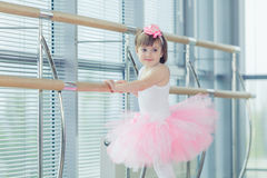Adorable child dancing classical ballet in studio. Stock Photography