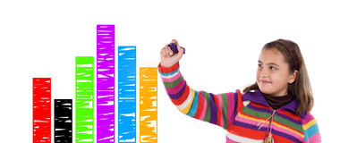 Adorable child drawing a colorful graphic Stock Photography