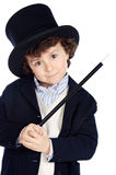 Adorable child dress of illusionist with hat Royalty Free Stock Photography