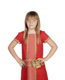Adorable child with a elegant red dress Royalty Free Stock Photos