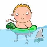 Adorable child floating in the water.  and white background Royalty Free Stock Photo