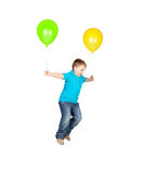 Adorable child flying with two balloons Royalty Free Stock Photography