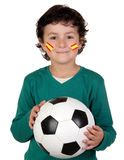 Adorable child follower of Spanish Selection. With his face painted stock images