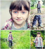 Adorable child girl indian summer time collage Stock Images