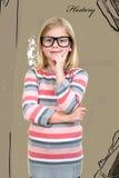Adorable child in glasses thinking, got idea. Stock Photo
