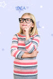 Adorable child in glasses thinking, got idea Royalty Free Stock Image